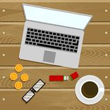 Crypto currency top view work place Stock Image