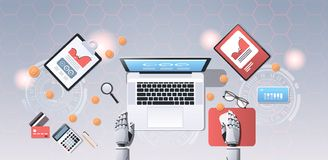 Crypto currency trading bot block chain concept bitcoin mining robotic hands using laptop at workplace desk top angle. View office stuff flat horizontal vector vector illustration