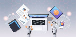 Crypto currency trading bot block chain concept bitcoin mining robotic hands using laptop at workplace desk top angle. View office stuff flat horizontal vector stock illustration