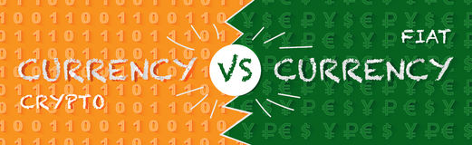 Crypto currency versus fiat currency. Banner with currency pattern in green and orange colors Stock Image