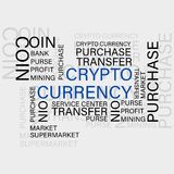 CRYPTO CURRENCY. Virtual Currency. Set in concept of business, finance, accounting management and risk management. Flat Thin line designed vector text on white royalty free illustration
