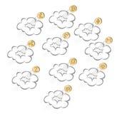Crypto de stijgingen van muntmuntstukken door de wolk, reeks royalty-vrije illustratie