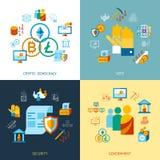 Crypto democracy icons set. Digital  crypto democracy and security icons set infographics Royalty Free Stock Photos