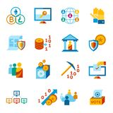 Crypto democracy icons set. Digital  crypto democracy and security icons set infographics Stock Images