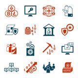 Crypto democracy icons set. Digital  crypto democracy and security icons set infographics Stock Photos