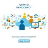 Crypto democracy icons set. Digital  crypto democracy and security icons set infographics Royalty Free Stock Image