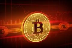 Crypto devise Chaîne de bloc Bitcoin bitcoin 3D d'or physique isométrique avec la chaîne de wireframe Concept de Blockchain Cri E illustration de vecteur