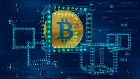 Crypto devise Chaîne de bloc Bitcoin bitcoin 3D d'or physique isométrique bloc 3D numérique isométrique avec le code numérique Bl illustration stock