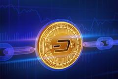 Crypto devise Chaîne de bloc dash pièce de monnaie d'or physique isométrique du tiret 3D avec la chaîne de wireframe Concept de B Photo stock