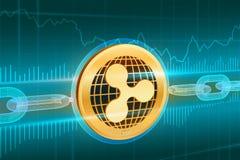 Crypto devise Cha?ne de bloc ondulation pi?ce de monnaie d'or physique isom?trique de l'ondulation 3D avec la cha?ne de wireframe illustration libre de droits