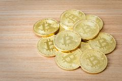 Crypto devise d'isolement de Bitcoins Photos stock