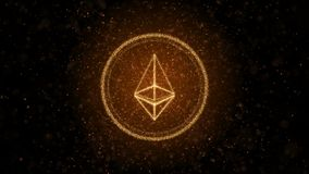 Crypto devise Ethereum des particules lumineuses Fond 3D illustration de vecteur