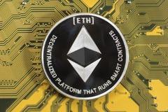 Crypto devise Ethereum Pièce de monnaie d'Ethereum photos libres de droits