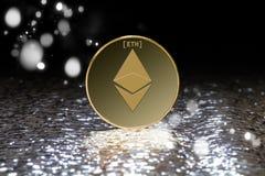 Crypto Ethereum κινηματογράφηση σε πρώτο πλάνο νομίσματος Στοκ φωτογραφίες με δικαίωμα ελεύθερης χρήσης