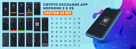 Crypto Exchange App XE or XS Vector UI kit. Crypto Exchange App Mephone XE or XS Vectore UI kit with different GUI layout including Login, Create Account stock illustration