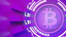 Crypto fond de ferme d'exploitation de devise de Bitcoin avec l'espace de copie Illustration financière rougeoyante du concept 3d Image libre de droits