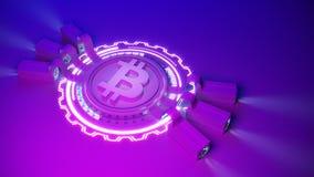 Crypto fond de ferme d'exploitation de devise de Bitcoin avec l'espace de copie Illustration financière rougeoyante du concept 3d Photo stock