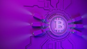 Crypto fond de ferme d'exploitation de devise de Bitcoin avec l'espace de copie Illustration financière rougeoyante du concept 3d Photos libres de droits