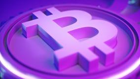Crypto fond de ferme d'exploitation de devise de Bitcoin avec l'espace de copie Illustration financière rougeoyante du concept 3d Images libres de droits