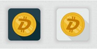Crypto icône légère et foncée de devise de DigiByte Images stock