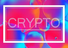 Crypto letters concept vector illustration on Neon color balls background with white frame. Abstract colorful 3D. Crypto letters concept vector illustration on Royalty Free Stock Image