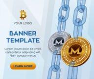 Crypto malplaatje van de munt het editable banner Monero 3D isometrisch Fysiek beetjemuntstuk Gouden en zilveren Monero-muntstukk Stock Afbeelding