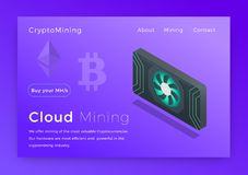 Crypto mining. Cloud cryptocurrency miners concept isometric vector illustration. Landing page design.  stock illustration