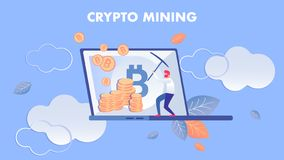 Crypto Mining, E business Flat Vector Illustration. Man Working with Pickaxe Cartoon Character. Cryptocurrency Miner Earning Virtual Money, Bitcoin royalty free illustration