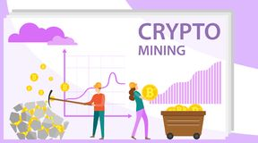 Crypto mining. People mine crypto currency from stone. The concept of crypto resource extraction. Vector illustration. Vector vector illustration