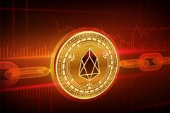 Crypto munt Blokketen EOS 3D isometrisch Fysiek gouden Eos-muntstuk met wireframeketen Blockchainconcept Editablecrypto Stock Foto's