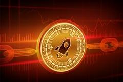 Crypto munt Blokketen stellair 3D isometrisch Fysiek gouden Stellair muntstuk met wireframeketen Blockchainconcept editabl Royalty-vrije Stock Afbeelding