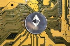 Crypto munt Ethereum Ethereummuntstuk stock afbeelding