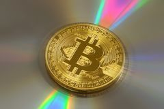 Crypto munt phisical goud bitcoin royalty-vrije stock foto's