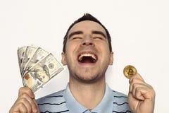 Crypto munt, virtueel geld, Internet en economieconcept Royalty-vrije Stock Foto's