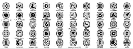 Crypto muntsymbool stock illustratie