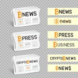 Crypto newspapers set transparent. Crypto newspapers bitcoin blockchain news logo set collection. Mining internet currency press. Financial business electronic Royalty Free Stock Image