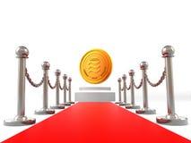 Crypto pièce de monnaie de devise de Balance sur le tapis rouge et l'image d'or de rendu de la barrière 3D d'isolement sur le fon illustration stock