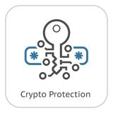 Crypto Protection Icon. Modern computer network technology sign. Digital graphic symbol. Passcode Field with Encrypted Key. Concept design elements Stock Photo