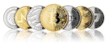 Crypto rangée de panorama de pièce de monnaie de devise illustration libre de droits