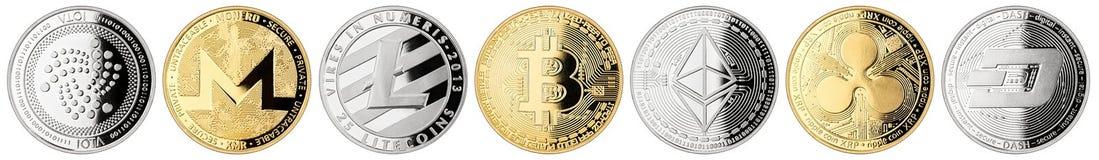 Crypto samling för valutamyntuppsättning royaltyfria bilder