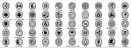 Crypto symbole monétaire illustration stock