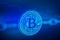 Crypto valuta Kvarterkedja Bitcoin isometrisk fysisk bitcoin 3D med wireframekedjan Blockchain begrepp Redigerbara Cryptocurr Fotografering för Bildbyråer