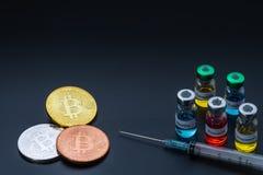 Crypto valuta med fem attribut gör mer sund ekonomiskt samhälle royaltyfri bild