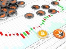 Crypto valuta Myntet med symbolet metallmynt Royaltyfri Bild