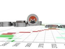 Crypto valuta Myntet med symbolet metallmynt Royaltyfria Bilder