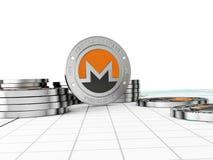 Crypto valuta Myntet med symbolet metallmynt Fotografering för Bildbyråer