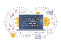 Crypto valuta- och kvarterkedja royaltyfri illustrationer