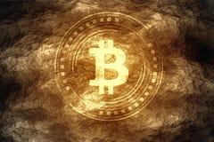 Crypto valuta som bryter begrepp Bitcoin BTC grundar, når han har grävt ner under hårt, vaggar jord vektor illustrationer