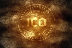 Crypto valuta som bryter begrepp Det initiala myntet som erbjuder ICO, grundar, når det har grävt ner under hårt, vaggar jord vektor illustrationer