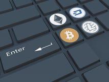 Crypto valuta Tangentbord med symboler Bryta av crypto-currenc Royaltyfri Bild